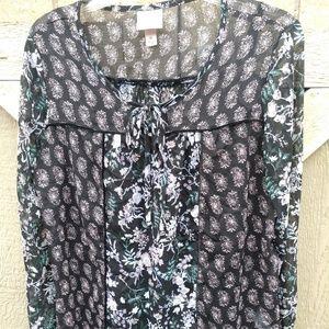 Knox Rose, sheer black pattern long sleeve top